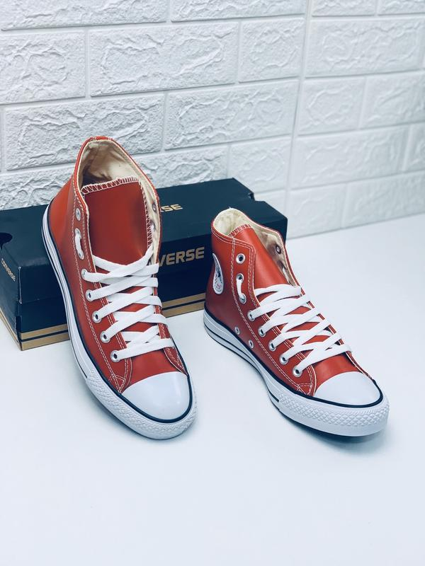 Кеды converse кожаные мужские высокие красные кеды ботинки