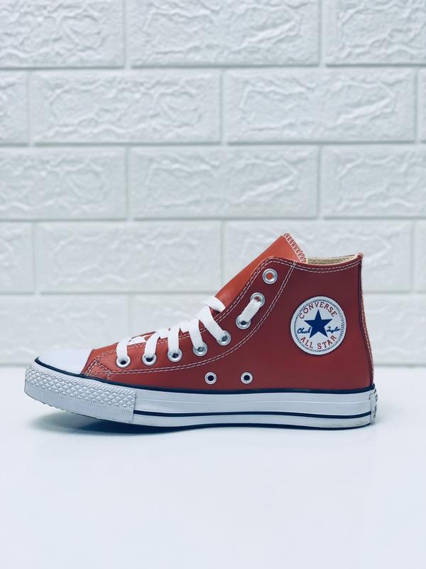 Кеды converse кожаные мужские высокие красные кеды ботинки - Фото 3