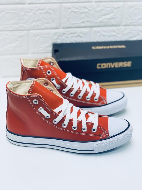 Кеды converse кожаные мужские высокие красные кеды ботинки - Фото 4