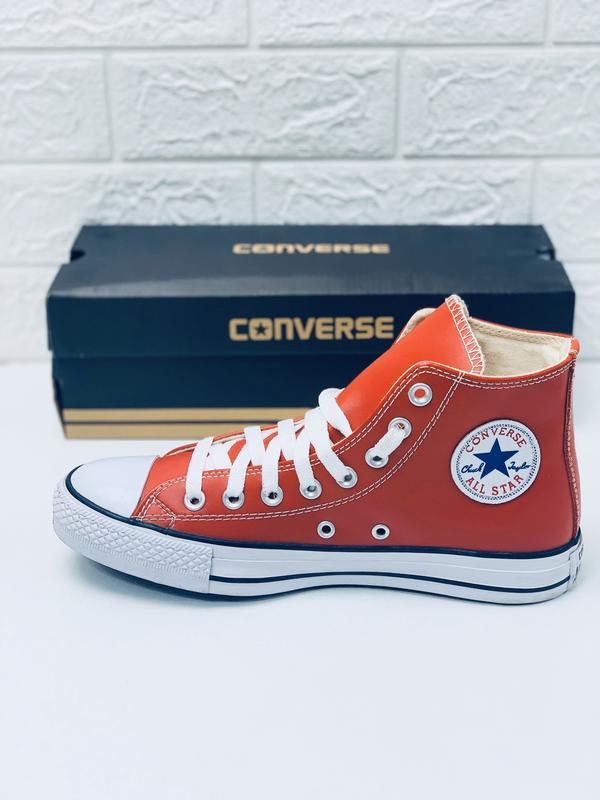 Кеды converse кожаные мужские высокие красные кеды ботинки - Фото 5