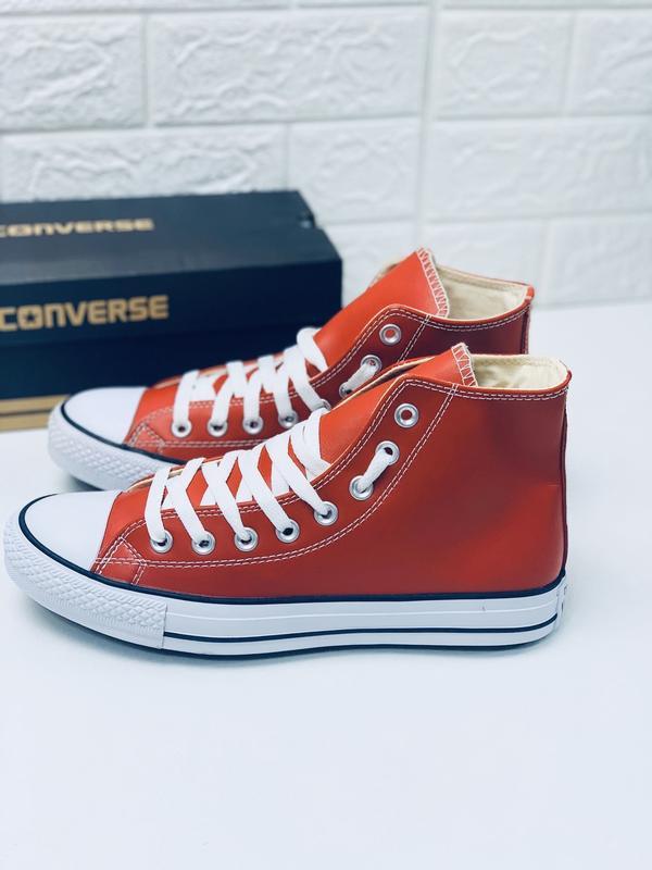 Кеды converse кожаные мужские высокие красные кеды ботинки - Фото 6