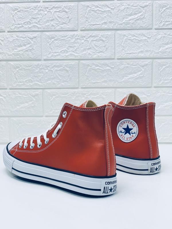 Кеды converse кожаные мужские высокие красные кеды ботинки - Фото 7