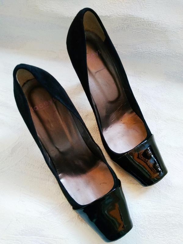 Laceys london шикарные модельные  туфли замшевые с лаковым нос... - Фото 3