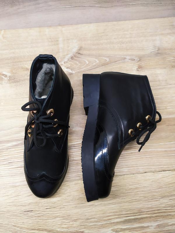 Кожаные зимние  ботинки женские , 37 размер , зимние  ботинки ... - Фото 3