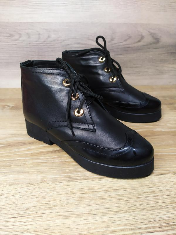 Кожаные зимние  ботинки женские , 37 размер , зимние  ботинки ... - Фото 4