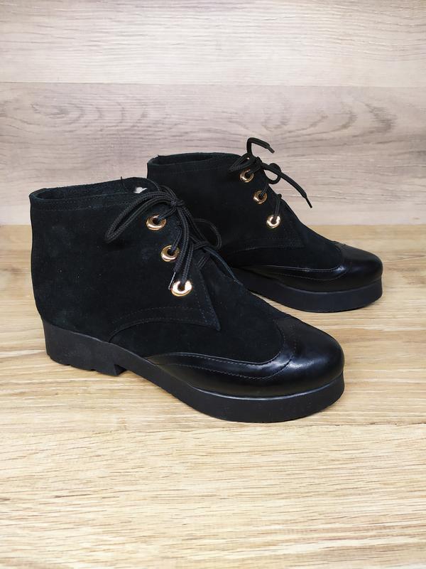 Замшевые  зимние  ботинки женские , 37 размер , зимние  ботинк...