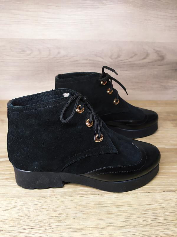 Замшевые  зимние  ботинки женские , 37 размер , зимние  ботинк... - Фото 2
