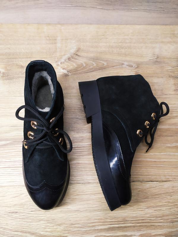 Замшевые  зимние  ботинки женские , 37 размер , зимние  ботинк... - Фото 4