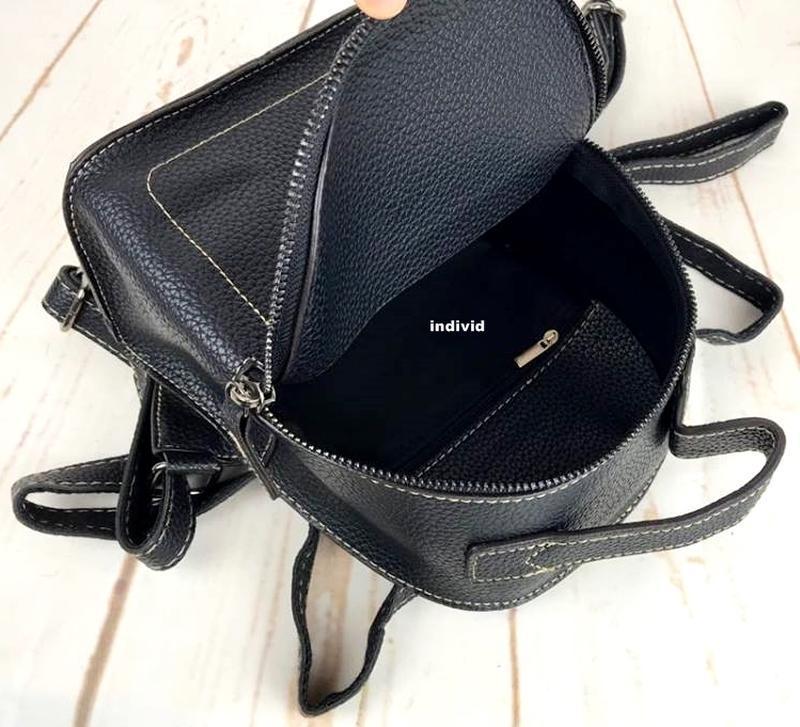Мини рюкзак. женская кожаная сумка. женский портфель. маленьки... - Фото 4