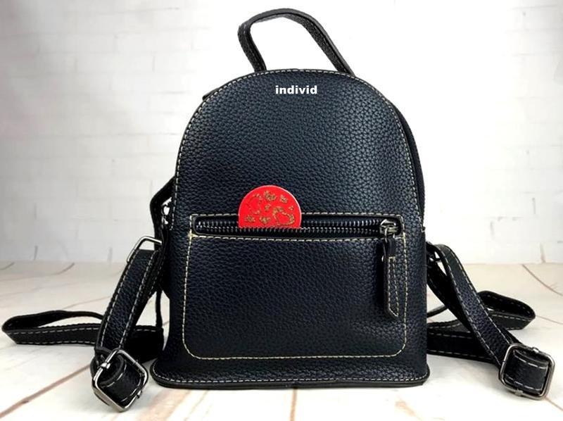 Мини рюкзак. женская кожаная сумка. женский портфель. маленьки... - Фото 5