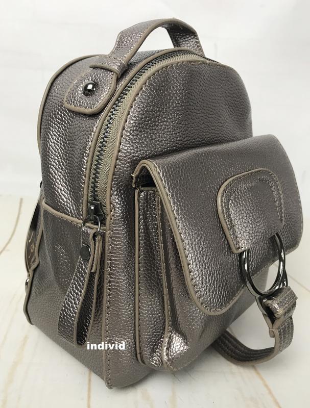 Женская сумка кожаная. серебристый рюкзак. женский портфель. м... - Фото 5