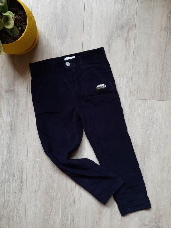 Вельветовые штаны с подкладкой внутри bluezoo 4-5 лет синие