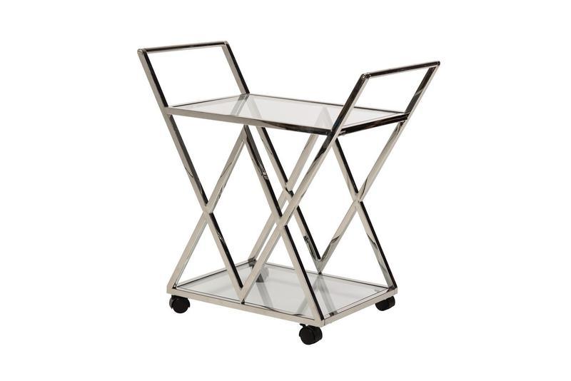 Сервировочный стол K-01 прозрачный + серебро