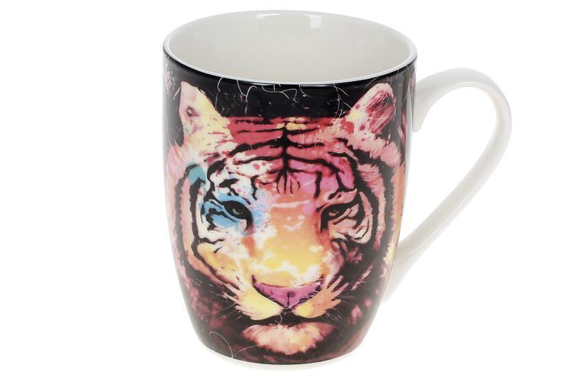 Кружка фарфоровая Тигр, 380мл, цвет - чёрный BonaDi RM3-775 ТО...