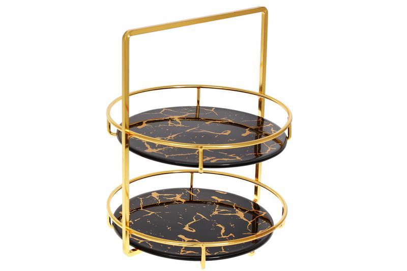 Фарфоровая двухярусная этажерка Мраморная Роскошь, 28см, цвет ...