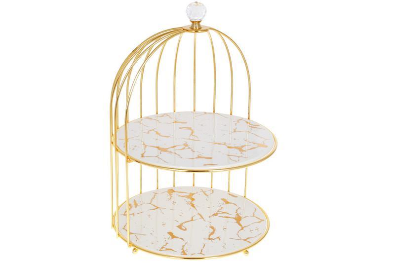 Фарфоровая двухярусная этажерка в форме клетки для птицы Мрамо...