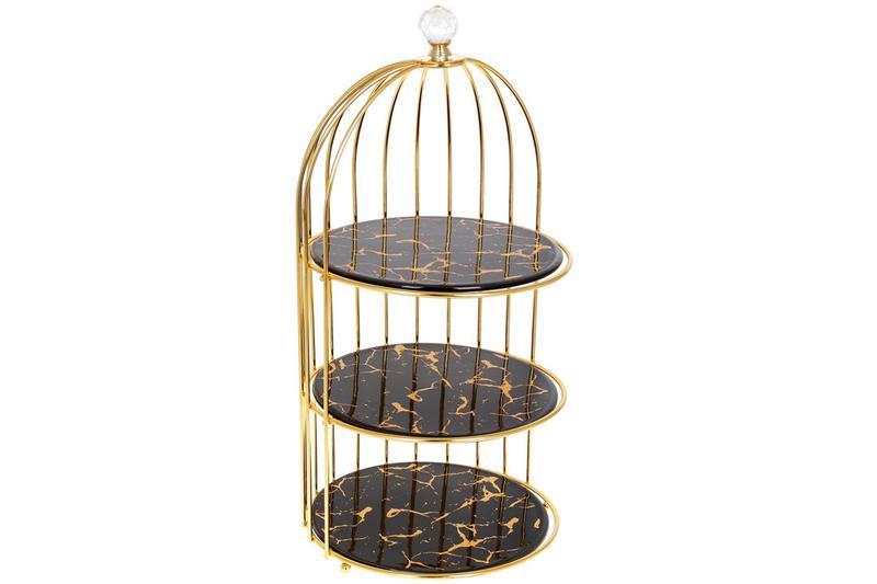 Фарфоровая этажерка в форме клетки для птицы Мраморная Роскошь...