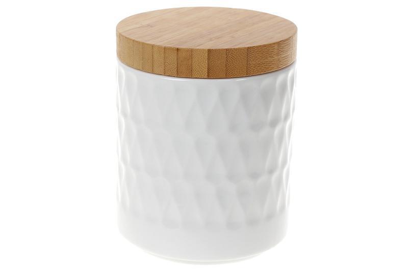 Банка фарфоровая 550мл для сыпучих продуктов Naturel с бамбуко...