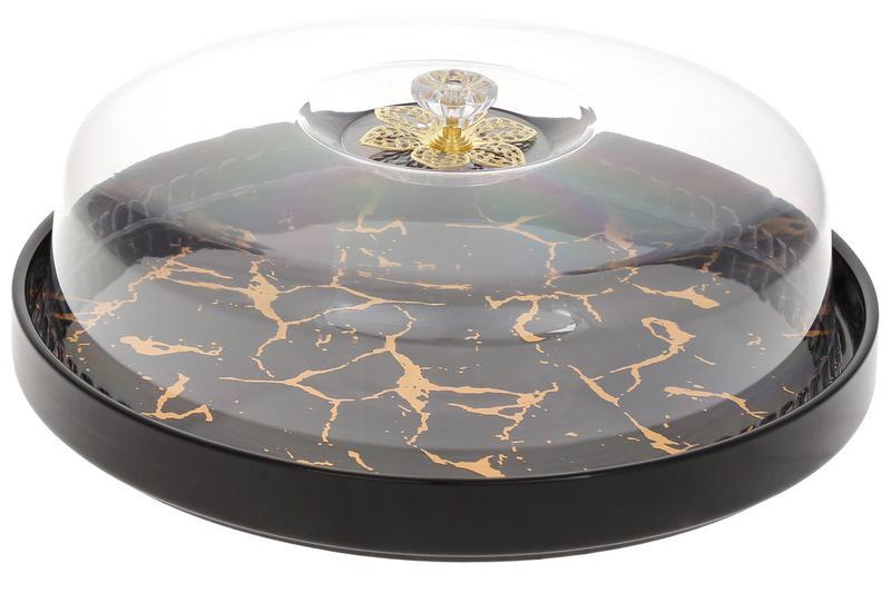 Блюдо-тортовница фарфоровая 29см с колпаком Мраморная Роскошь,...