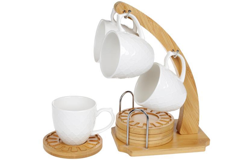 Кофейный набор:4 фарфоровые чашки 160мл с бамбуковыми костерам...