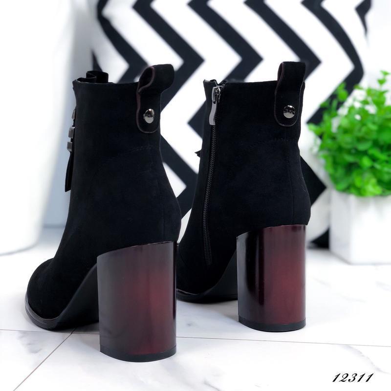 Ботильоны женские замшевые на каблуке черные - Фото 5