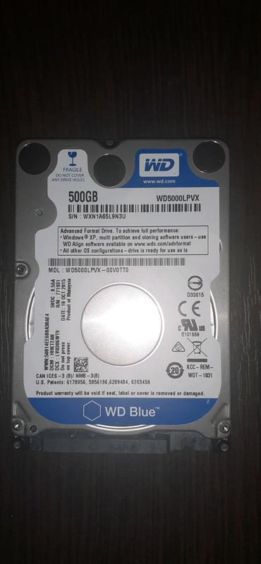Жёсткий диск HDD WD blue 500gb. 2.5 в рабочем состоянии.