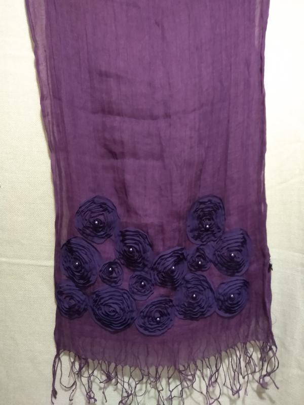 Льняной шарф с декором - Фото 2