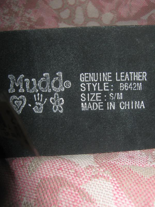Широкий кожаный ремень с заклёпками, mudd. - Фото 2