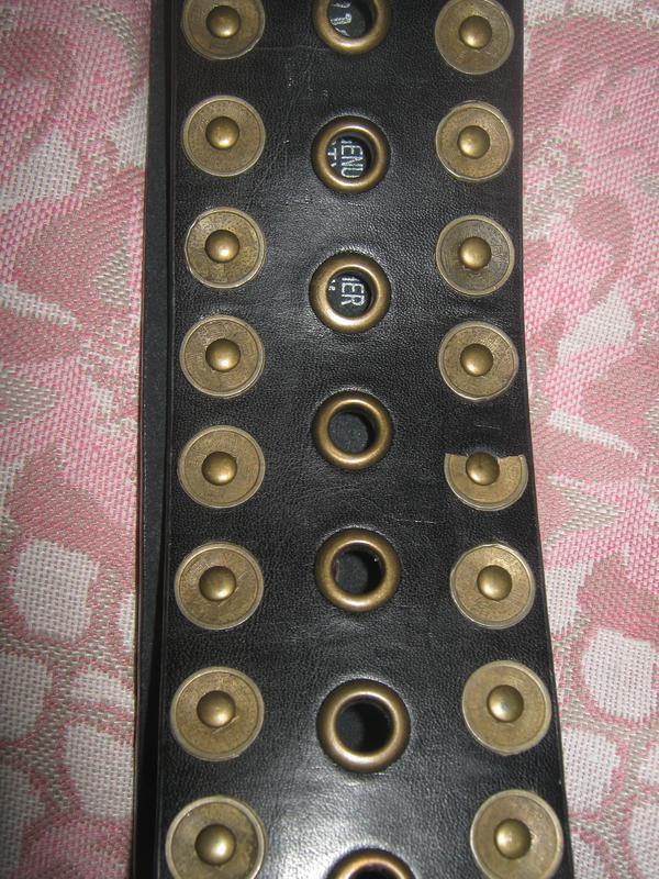 Широкий кожаный ремень с заклёпками, mudd. - Фото 3