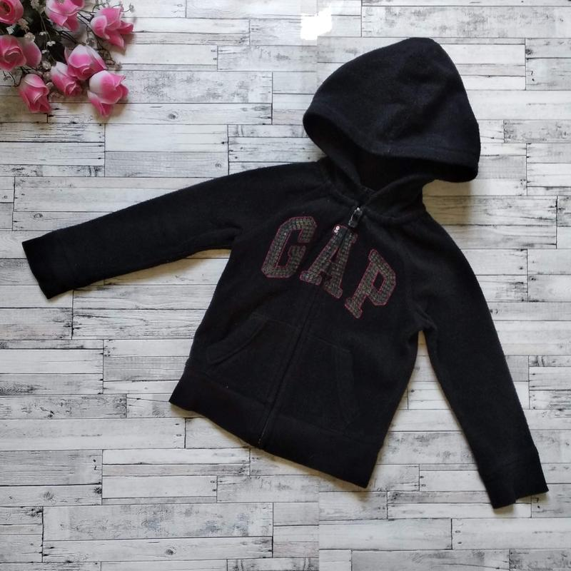 Теплая кофта gap kids на девочку с капюшоном черная