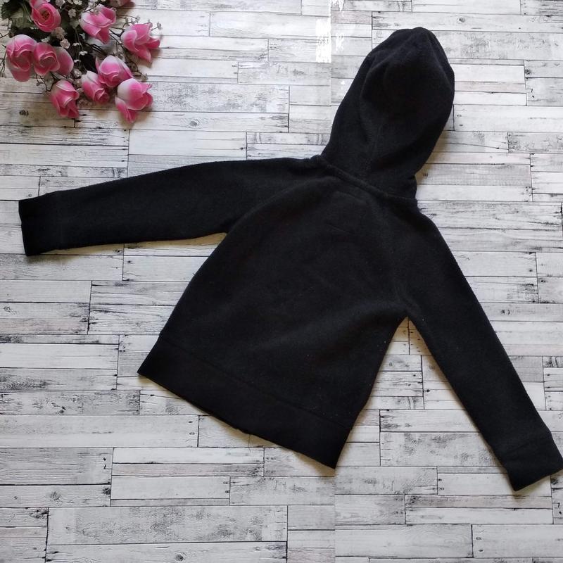 Теплая кофта gap kids на девочку с капюшоном черная - Фото 3