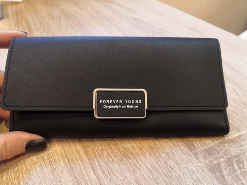 Стильный женский черный кошелек - Фото 2