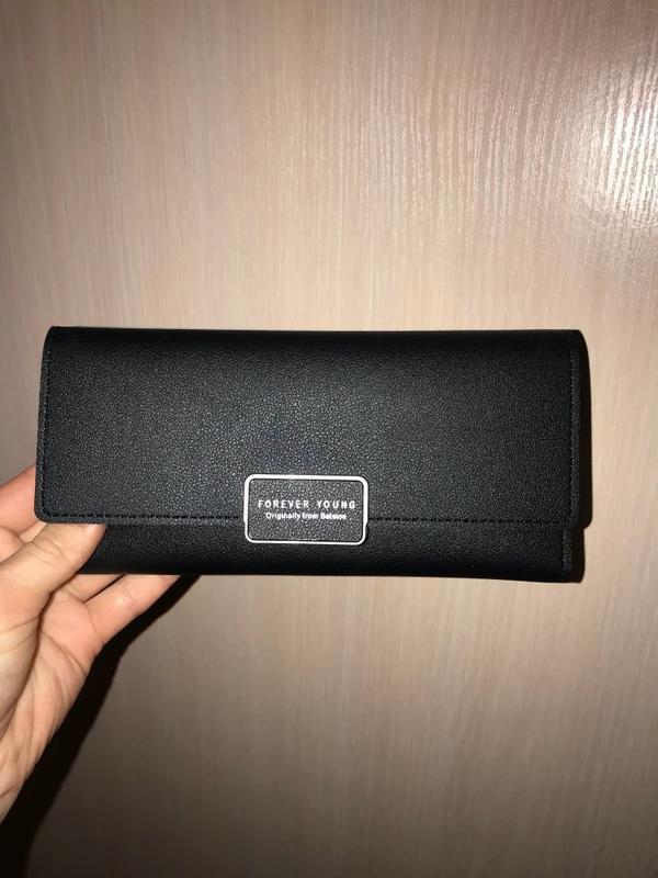 Стильный женский черный кошелек - Фото 3