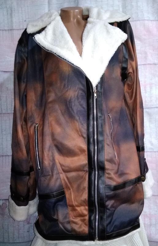 Куртка тонкая имитация дублёнки батал 3xl