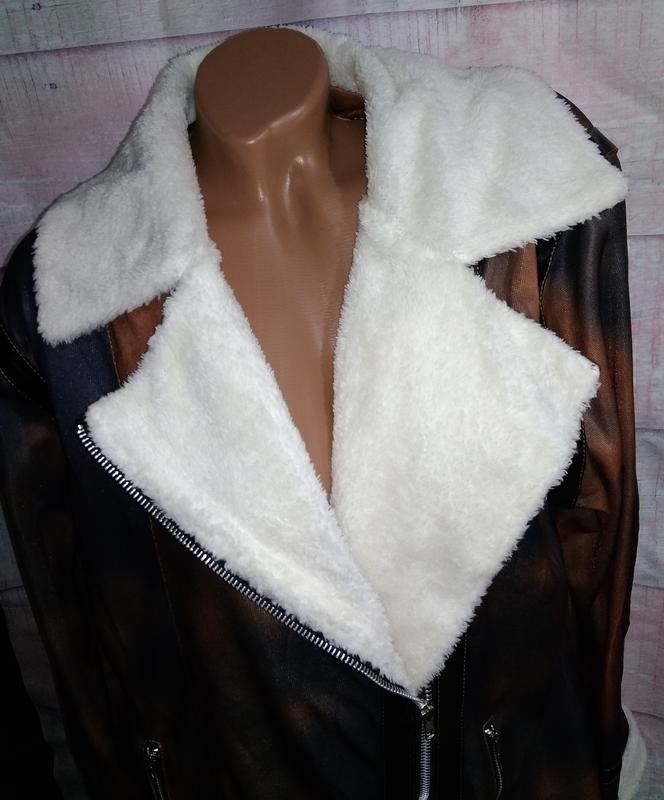 Куртка тонкая имитация дублёнки батал 3xl - Фото 5