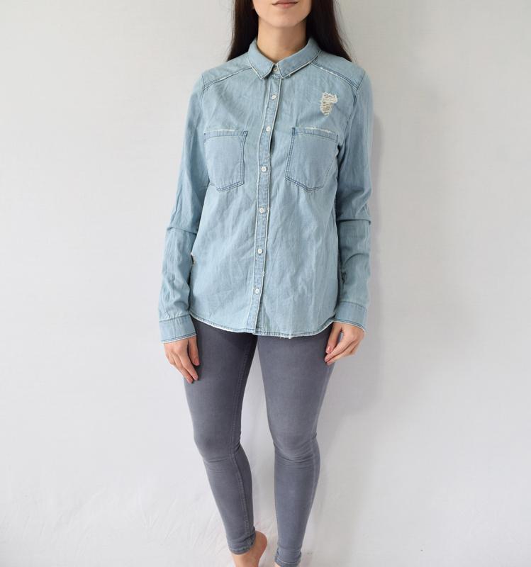Джинсовая рубашка h&m - Фото 2