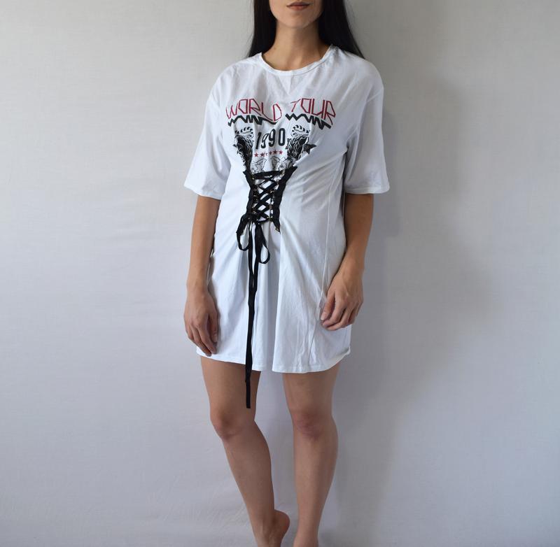Удлиненная футболка с шнуровкой river island - Фото 2