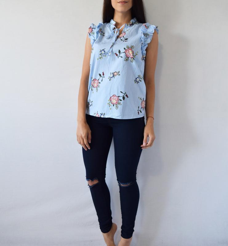 Блуза в цветы m&s - Фото 2