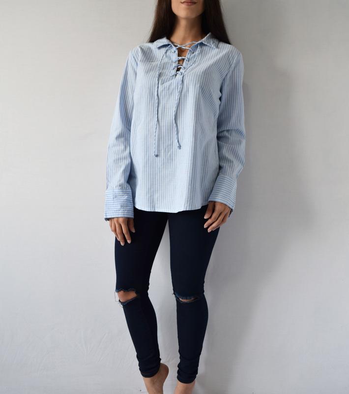Блузка с шнуровкой (новая, с биркой) atm - Фото 2