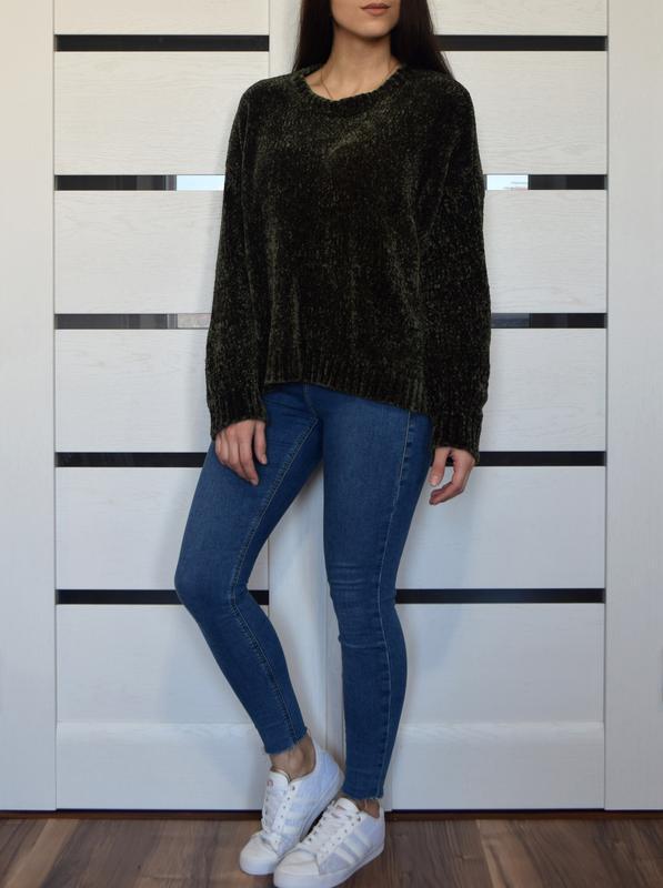 Плюшевый свитер хаки new look - Фото 2