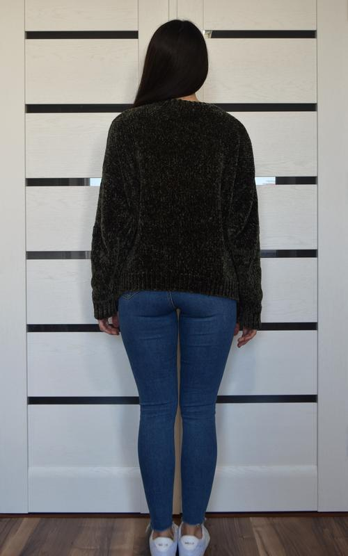 Плюшевый свитер хаки new look - Фото 4