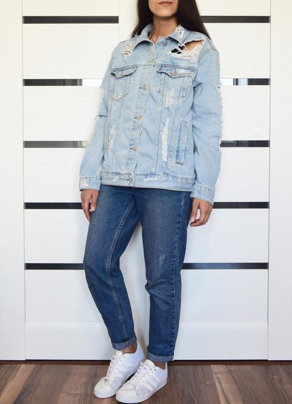 Джинсовая куртка с рваностями topshop - Фото 2