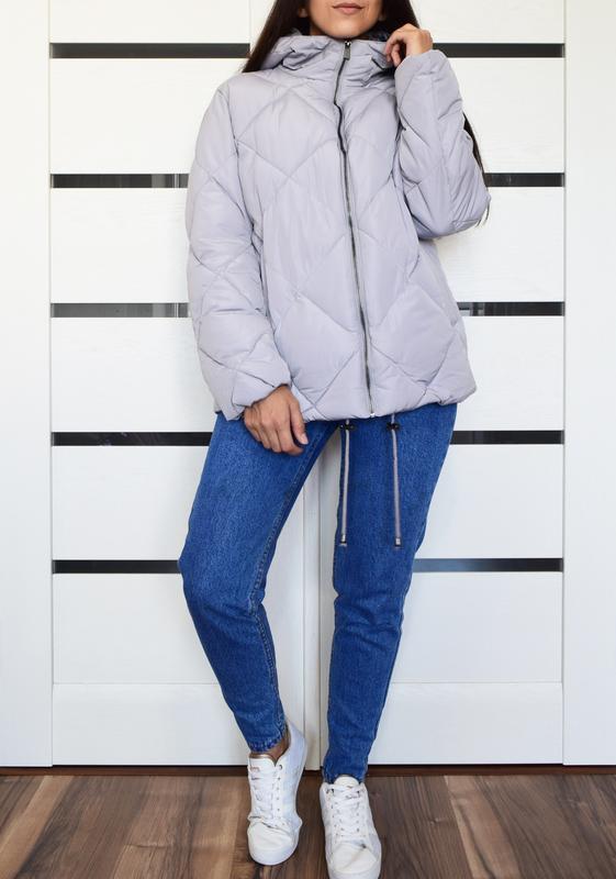 Лиловая стеганая куртка asos - Фото 2