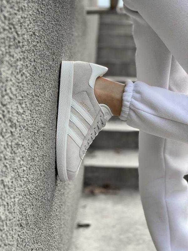 Adidas gazelle grey шикарные женские кроссовки адидас серые - Фото 3