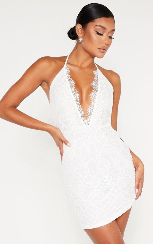 Ликвидация товара 🔥 белое кружевное мини платье халтер нарядное