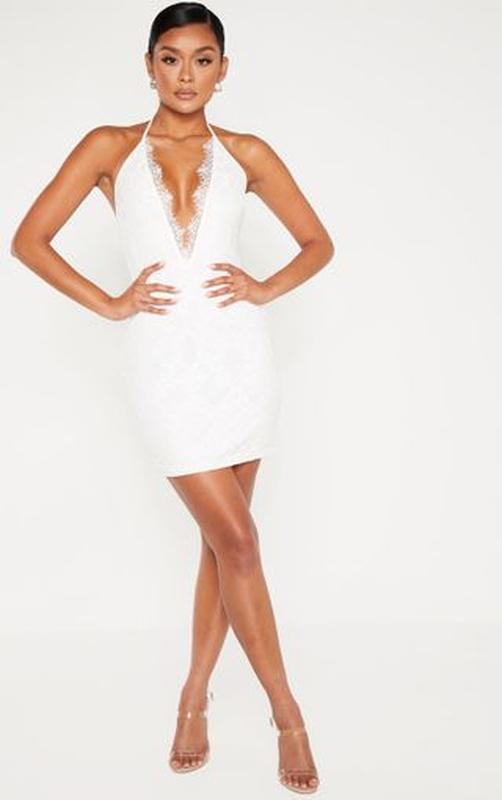 Ликвидация товара 🔥 белое кружевное мини платье халтер нарядное - Фото 2