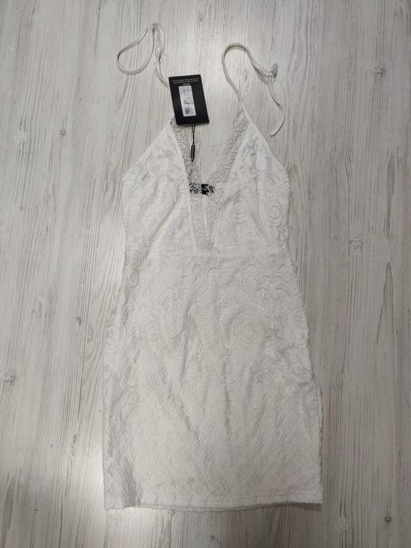 Ликвидация товара 🔥 белое кружевное мини платье халтер нарядное - Фото 3