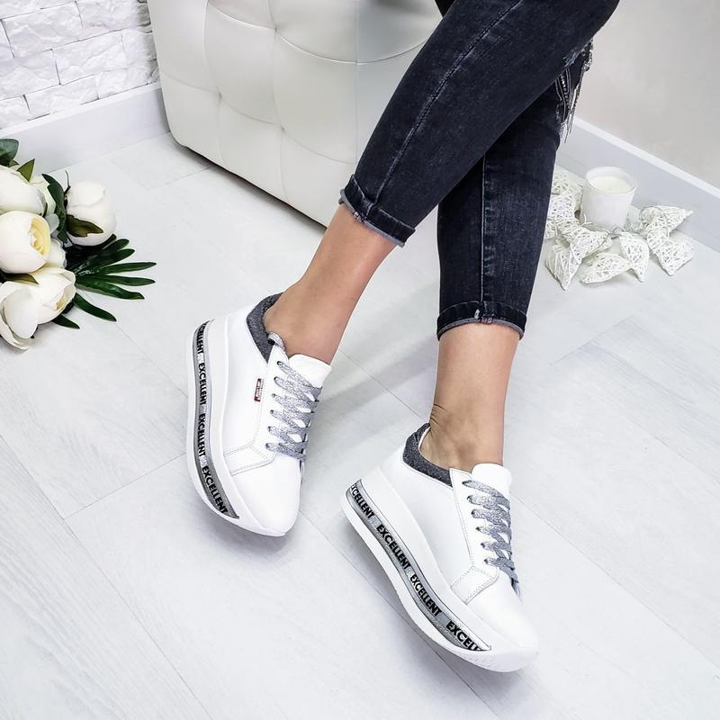 Кожаные белые кроссовки - Фото 2