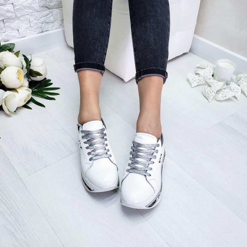 Кожаные белые кроссовки - Фото 3