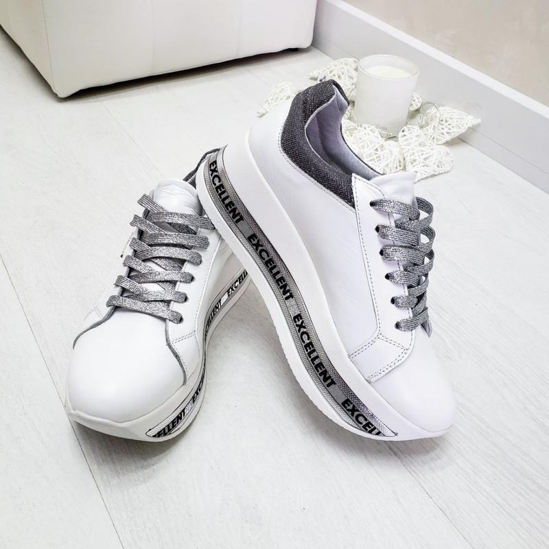 Кожаные белые кроссовки - Фото 4